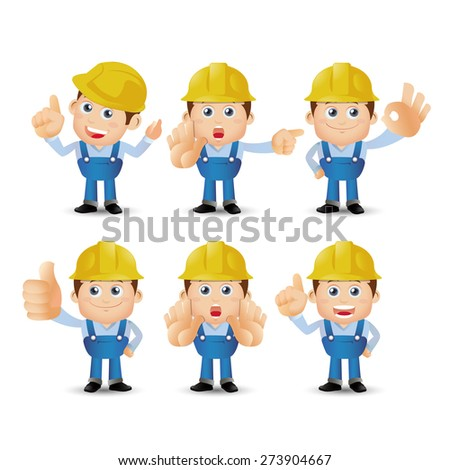 People Set - Profession - Set of builder character in different poses - stock vector