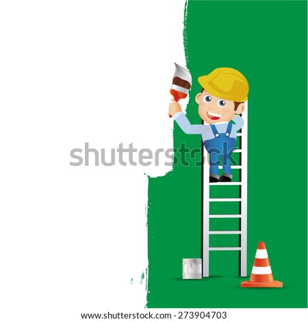 People Set - Profession - Worker Painting the wall - stock vector