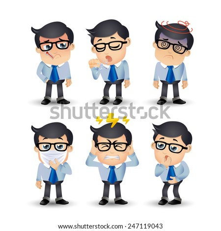 People Set - Sick - Businessmen with pain and diseases - stock vector