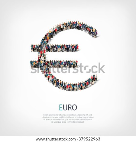 people  shape  sign euro - stock vector