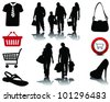 People shopping, black silhouettes with shadows and signs, vector - stock vector