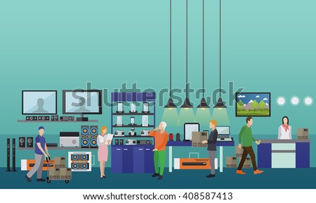 People shopping in a mall.  Consumer electronics store Interior vector illustration. Design elements and banners in flat style. - stock vector