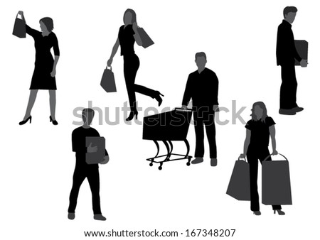 People Shopping Silhouettes- Vector Illustration - stock vector