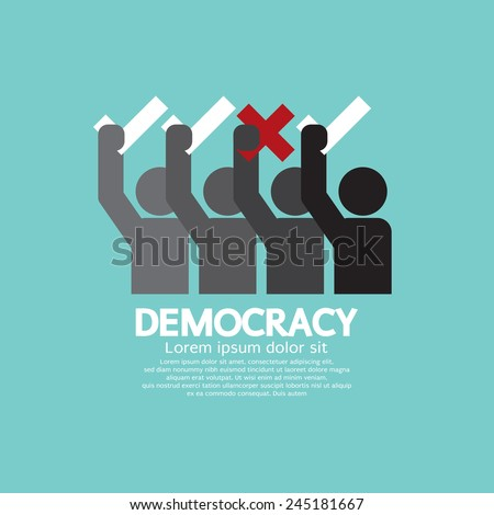 People Showing Vote Yes And No Democracy Concept Vector Illustration - stock vector
