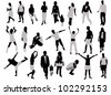 people silhouette - stock vector