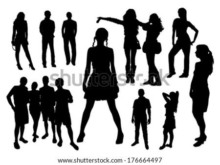 people silhouette black vector - stock vector