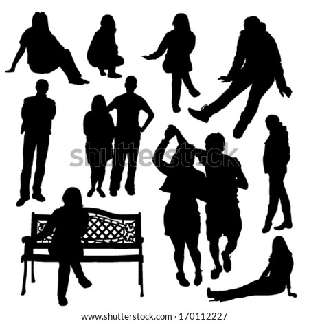people silhouette set - stock vector