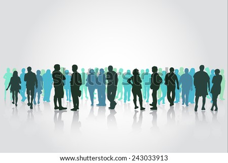 People silhouettes group - stock vector
