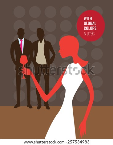 People silhouettes in a disco and woman drinking wine. Vector illustration Eps10 file. Global colors & layers. - stock vector