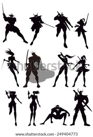 people silhouettes, samurai, ninja, knight, superhero and army - stock vector