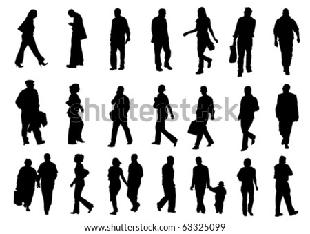 People silhouettes (vector) - stock vector