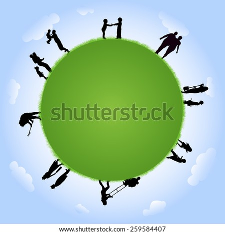 People silhouettes with globe illustration - stock vector