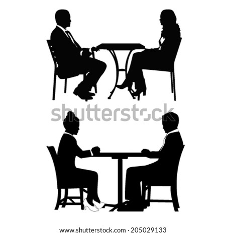 People sitting at table and talking.Vector illustration - stock vector