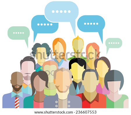 people social networking with speech bubbles - stock vector