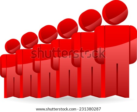people standing on a formation of red color - stock vector