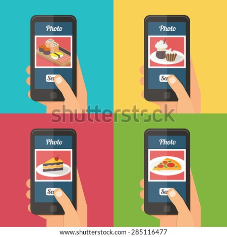 People taking picture photo of food in restaurant with smartphone, sharing in social network. Selfie shot flat vector illustration set - stock vector