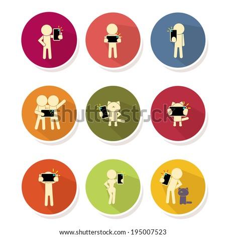 People taking self photo icon - vector illustration - stock vector