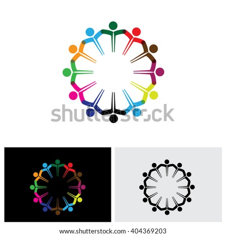 people teamwork vector logo icon in eps 10 format - stock vector
