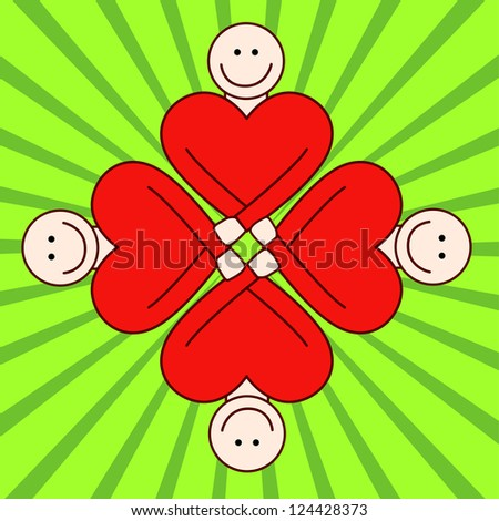 People togetherness - red hearts. - stock vector
