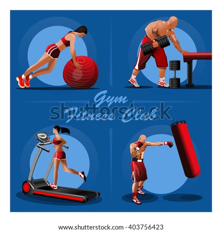 People trained in the gym. Girl with red fitness ball. Muscular Bodybuilder with dumbbells. Fighter training with a punching bag. Girl on the treadmill. Vector illustration for gyms, fitness centers - stock vector