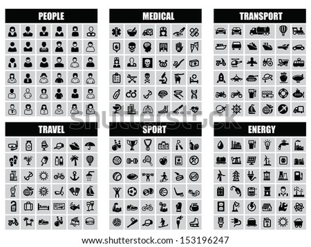 people, transport, medical, travel, sport and energy icons - stock vector