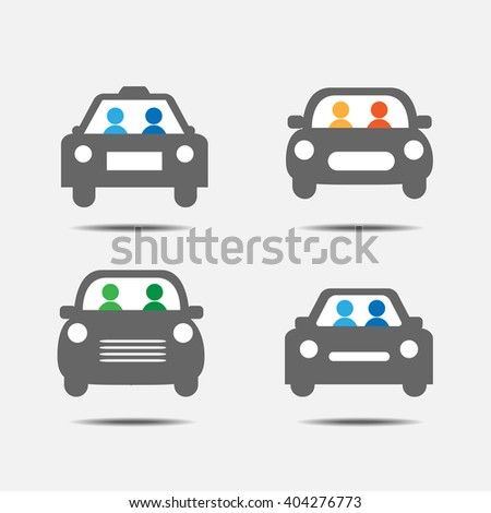 People traveling by car icons - stock vector