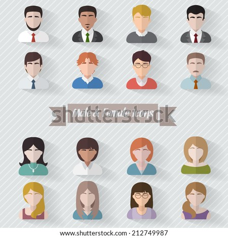 People user pics icons in flat style. Different male and female avatars. Men and women faces collection set. Vector illustration. - stock vector