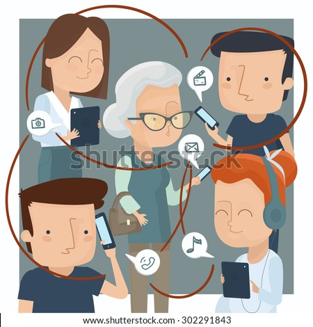 People using technology devices for different purposes - stock vector