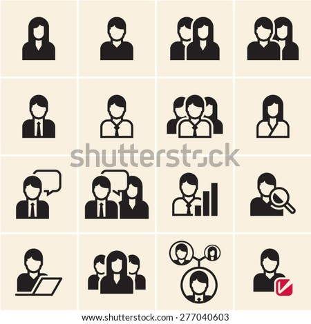 People vector icons set. Office people. - stock vector