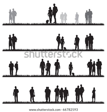 people walking on grass - stock vector