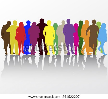 People walking silhouettes - stock vector