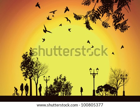 people walking to work through city park - stock vector