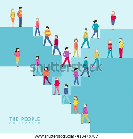 People Walking Up Stairs Conceptual Vector Design - stock vector