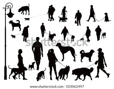 People walking with dogs. Black and white vector illustration. - stock vector