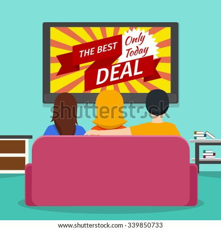 People watching advertising  television. Screen and media technology communication. Vector flat illustration - stock vector