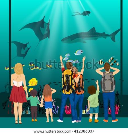 people watching underwater scenery with sea animals in giant oceanarium - stock vector