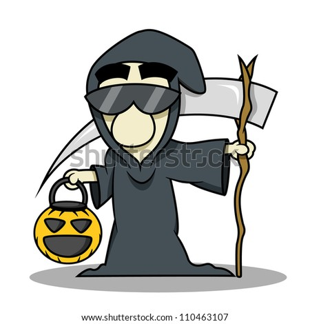 People wear death reaper costume for halloween and holding a pumpkin basket for trick or treat - stock vector