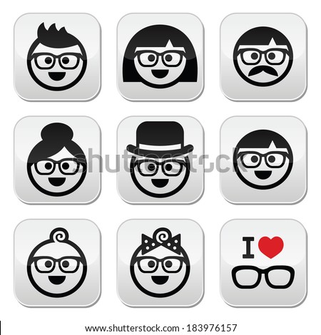 People wearing glasses, geeks buttons set - stock vector