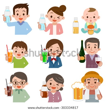 People who drink a drink - stock vector