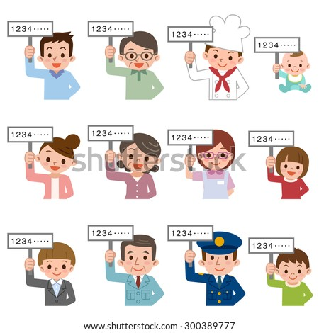 People who have a placard - stock vector