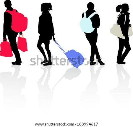 People who travel, carrying bags, silhouettes - stock vector
