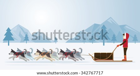 People with Arctic Dogs Sledding, Panorama Background, Winter, Nature Travel and Adventure - stock vector