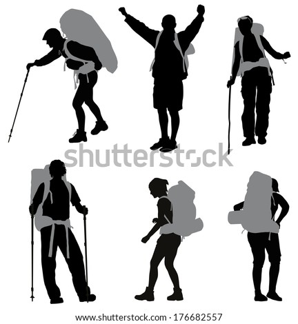 People with backpack vector silhouettes set - stock vector