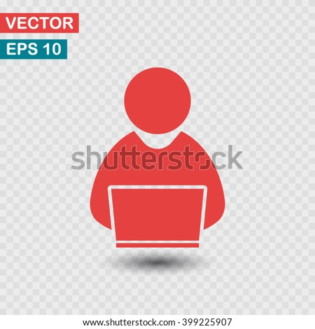 people with computer, person with laptop  icon. One of set web icons - stock vector
