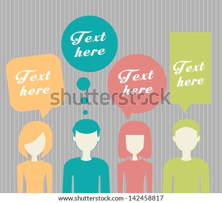 people with dialog speech bubbles - stock vector