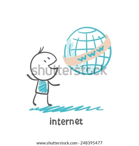 people with internet illustration - stock vector
