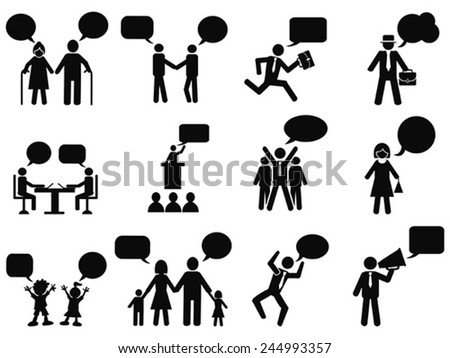 people with speech bubbles icons - stock vector