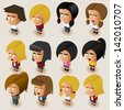 People Women Isometric Set. Vector Illustrator - stock vector