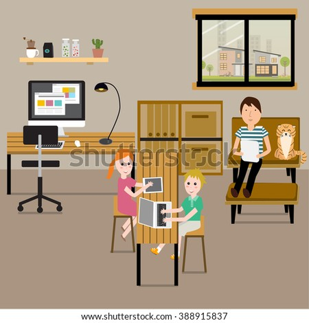 People working at home with family as a freelancer or remote work.illustration EPS10. - stock vector