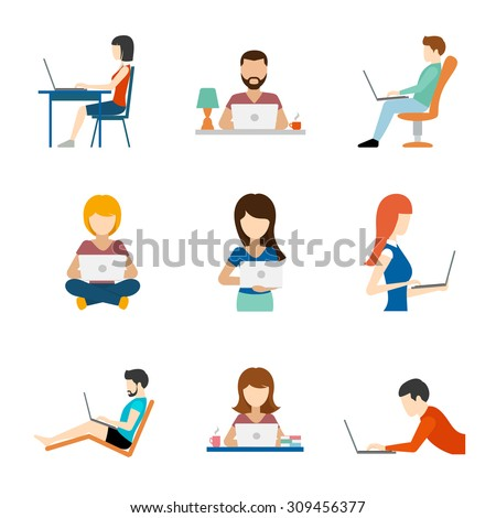 People working on computer flat icons. Person job, businessman and businesswoman, vector illustration - stock vector